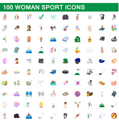 100 woman sport icons set cartoon style vector image vector image