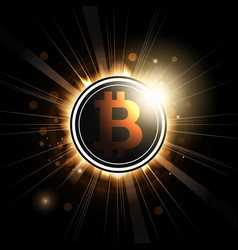 bitcoin symbol shines with rays vector image