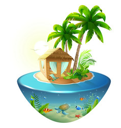bungalow under palm tree on tropical island vector image