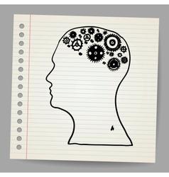 Doodle cog wheels forming a brain vector image