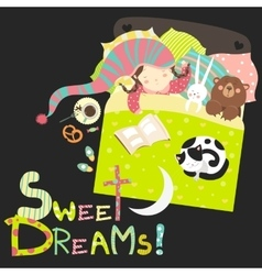 Little girl sleeping with toys and cat vector image vector image