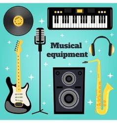 Music equipment set vector image vector image