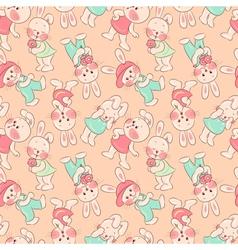 Seamless pattern kittens rabbits vector image vector image