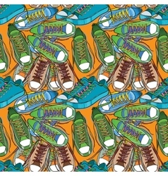 Sport shoes seamless pattern vector image vector image