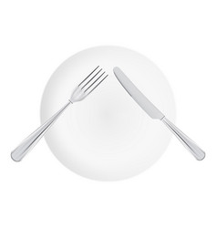 White plate with fork and knife top view isolated vector