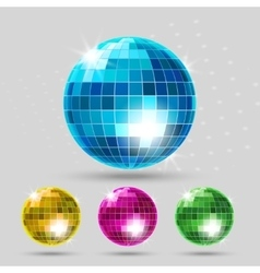 Disco ball set vector image vector image