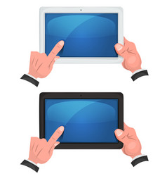 hands using touch screen on digital tablet vector image