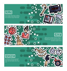 Set of horizontal banners about old age vector
