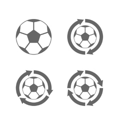 Soccer ball icon with arrows vector image vector image