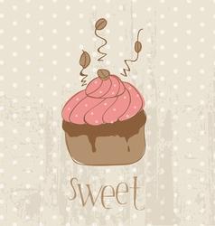 vintage cupcake card vector image vector image