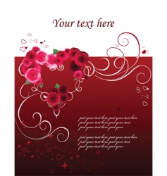 background with heart and roses vector image vector image