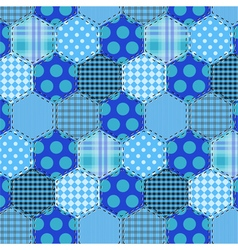 Seamless pattern patchwork blue fabrics hexagon vector image vector image
