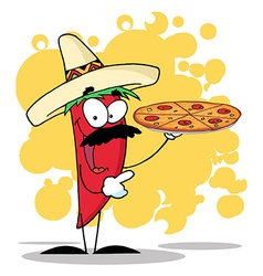 Sombrero Chile Pepper Holds Up Hot Pizza vector image vector image