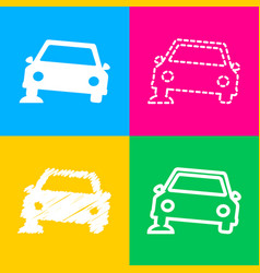 car parking sign four styles of icon on four vector image