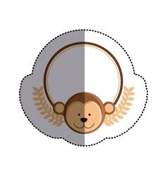Color sticker circle with monkey head and olive vector