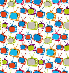 Colorful retro style TV sets seamless background vector image vector image