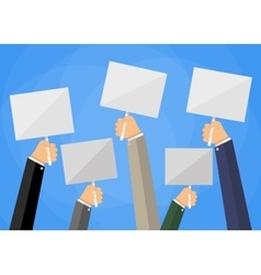 hands holding white empty sign boards vector image