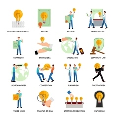 Intellectual Property Icons vector image vector image