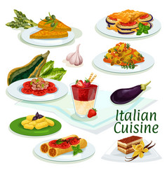 italian cuisine traditional food cartoon icon vector image vector image