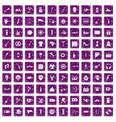 100 street festival icons set grunge purple vector