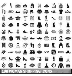 100 woman shopping icons set in simple style vector image