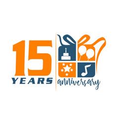 15 year gift box ribbon anniversary vector