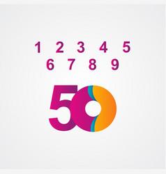 50 years anniversary celebration purple template vector