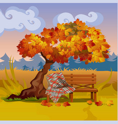 A wooden bench with a plaid blanket under the vector