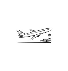 Airplane taking off hand drawn outline doodle icon vector