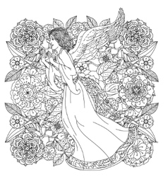 Angel on orient floral ornament vector image