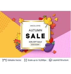 autumn sale background template vector image