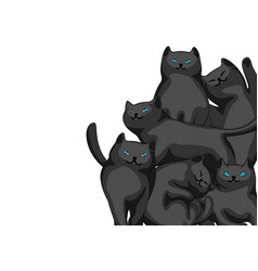 background with cartoon black cats vector image