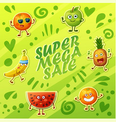 background with crazy funny fruit characters vector image