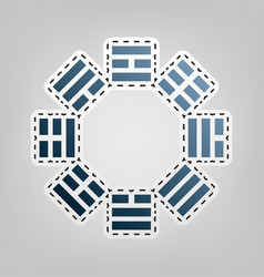 Bagua sign blue icon with outline for vector
