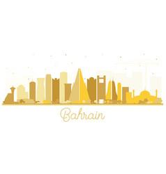 Bahrain city skyline silhouette with golden vector