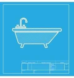 Bathtub sign White section of icon vector