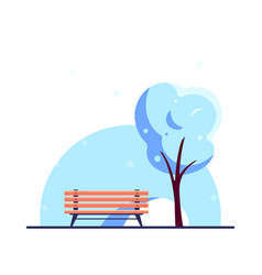 bench in winter city park flat style vector image
