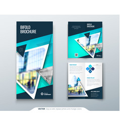 Bifold brochure design teal template for bi fold vector