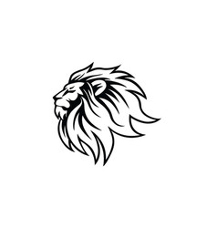 black and white angry lion head logo vector image