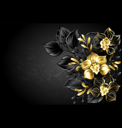 black background with black orchid vector image