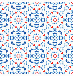 blue red pattern fresh boho background vector image