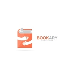 Book and hands logo combination Novel and vector