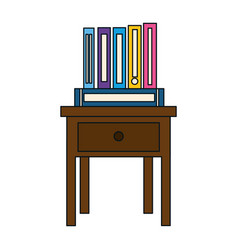 Books on bedside table icon vector
