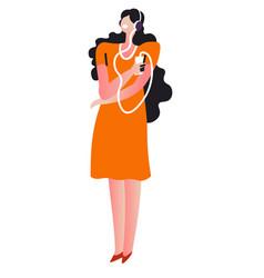 brunette listening to music wearing headphones vector image