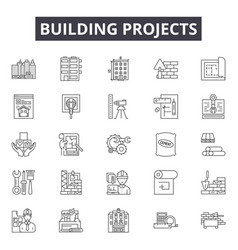 building projects line icons signs set vector image