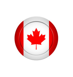canadian flag on the round button vector image