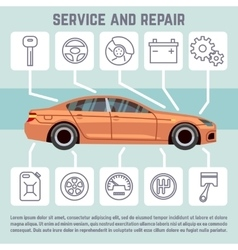 Car parts service and repair line icons vector