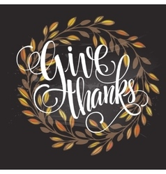 card for thanksgiving day on blackboard vector image