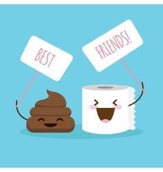 Cartoon shit and toilet paper vector