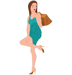 Cartoon young woman in green dress and bag over vector image